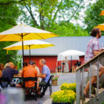 Guests enjoying the patio under the yellow umbrellas.