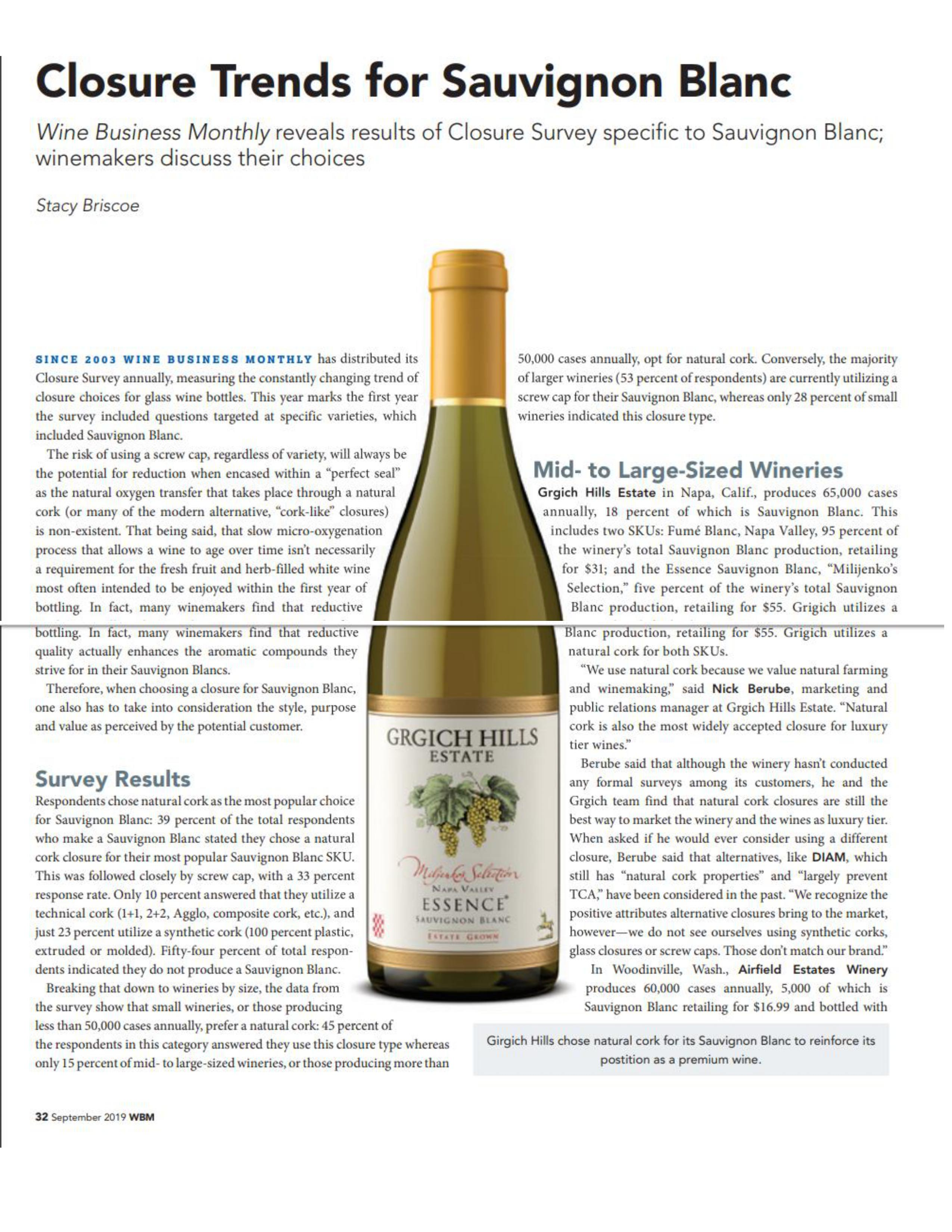 Picture of the Wine Business Article Titled Closure Trends for Sauvignon Blanc.